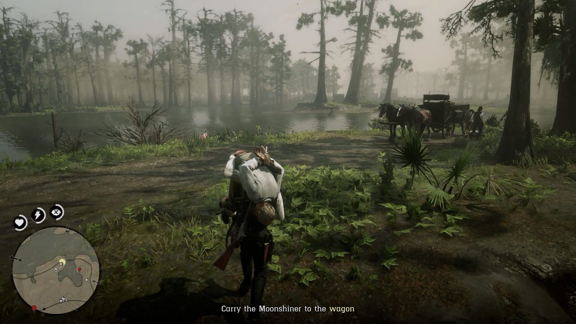 Stuck on Carry the Moonshiner to the Wagon in Red Dead